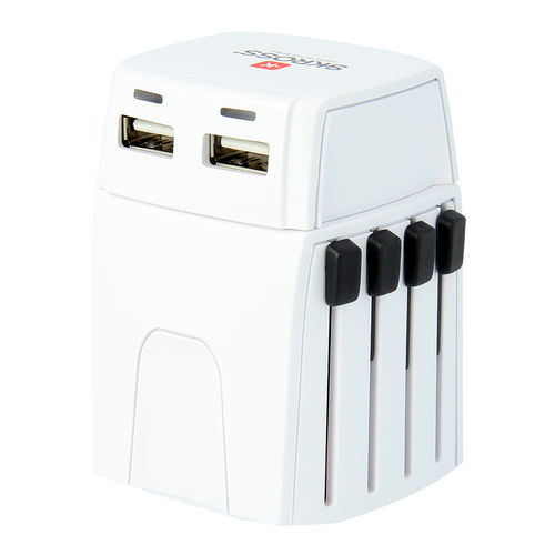 SKROSS MUV Micro 2.5A World Travel Adapter & Dual USB Charger (2-Pole)